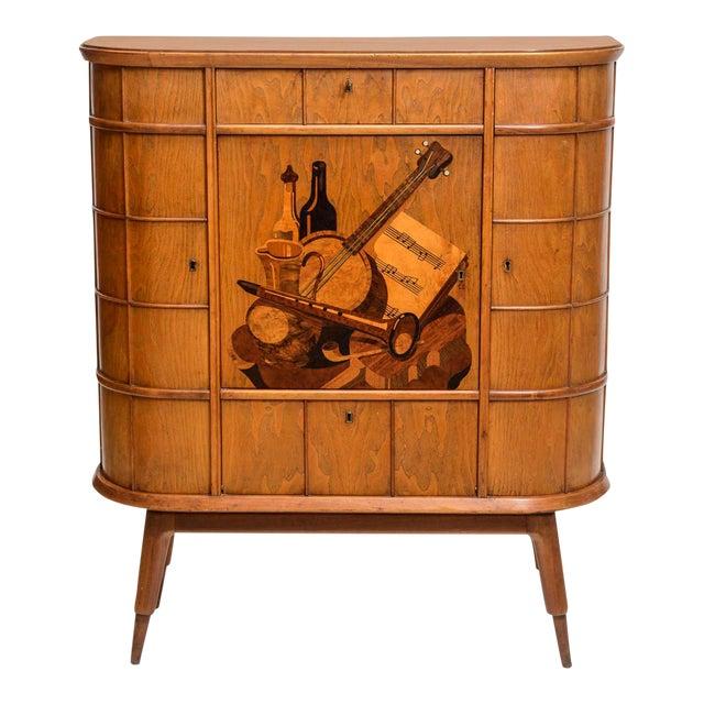 Italian Modern Ash, Walnut, Olivewood, Mahogany Bar Cabinet, Luigi Scremin For Sale