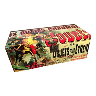 Late 19th Century Toy Chest with French Graphics For Sale