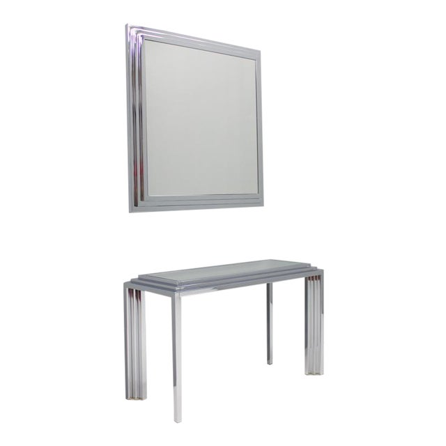Hollywood Regency Chrome Mirror and Console Table, France, 1974 For Sale