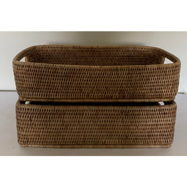 Rattan Woven Baskets - a Pair For Sale - Image 9 of 11
