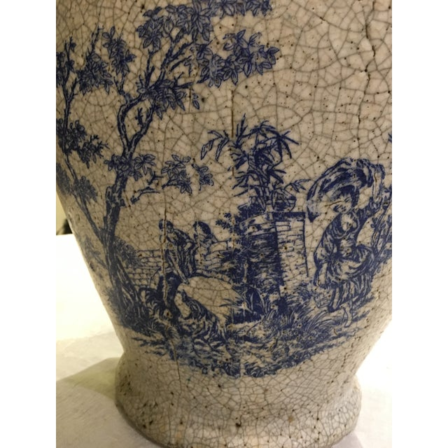 Planter With Blue Pastoral Scene - Image 6 of 10