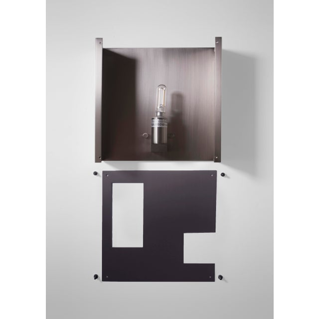 Modern Contemporary 001 Sconce in Blackened Brass by Orphan Work For Sale - Image 4 of 4