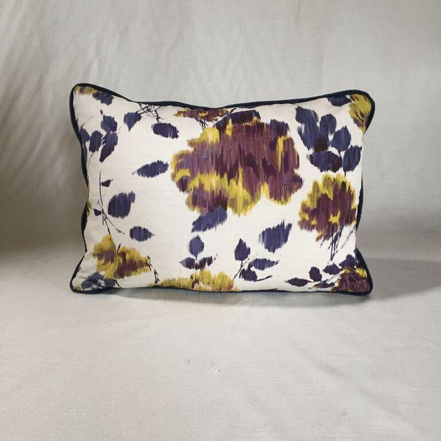 By Kim Salmela, a 14x20 pillow in digitally printed floral fabric. Woven ivory cotton/poly reverse, velvet welt, hidden...