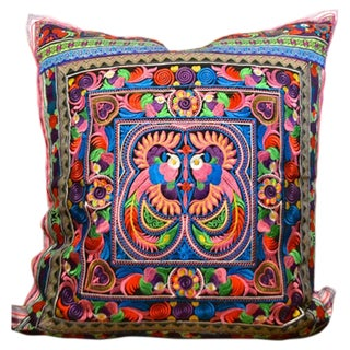 Birds of a Feather Ethnic Embroidered Pillow For Sale