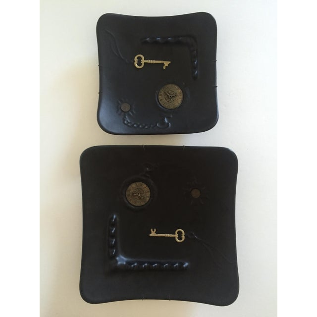 Mid-Century Modern Dada Matte Black Decorative Ceramic Wall Plates - A Pair For Sale - Image 10 of 11