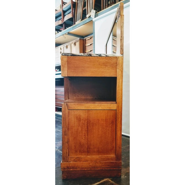 Brown Antique French Oak Art Deco Sideboard With Mirrored Back Board For Sale - Image 8 of 13