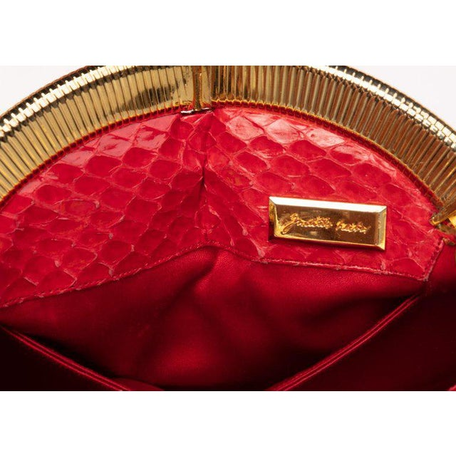 Vintage Judith Leiber Red Snake Skin Clutch Bag For Sale In Miami - Image 6 of 7