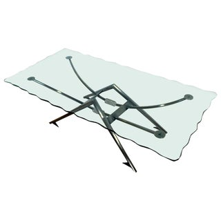 Contemporary Modern Gunmetal Chipped Edge Glass Coffee Table Memphis Style 1980s For Sale