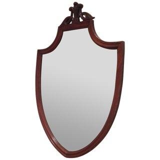 Antique Mahogany Shield Mirror For Sale