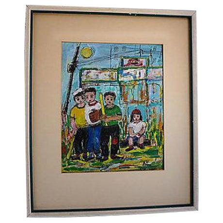 Original Oil Painting on Paper of Sandlot Kids - Image 1 of 6