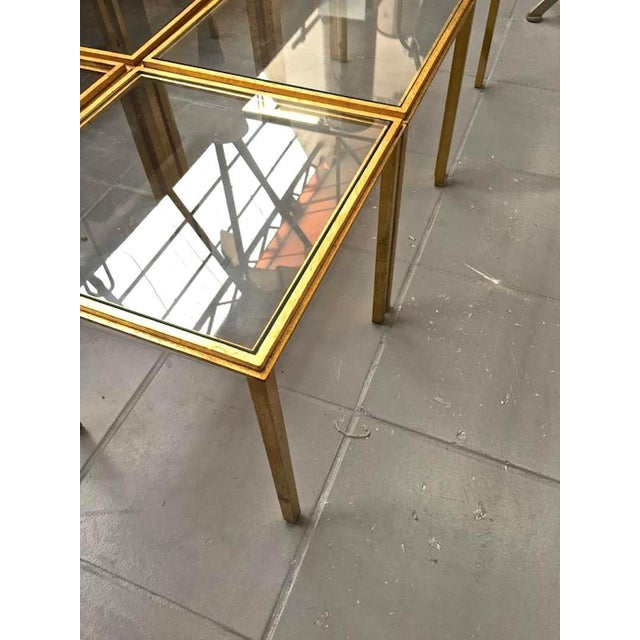 Roger Thibier Spectacular Gold Leaf Wrought Iron Big Coffee Table Made of 6 Unit For Sale - Image 4 of 6