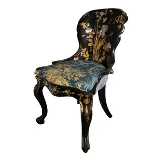 Antique English Regency Era Papier Mâché Chair With Inlay For Sale