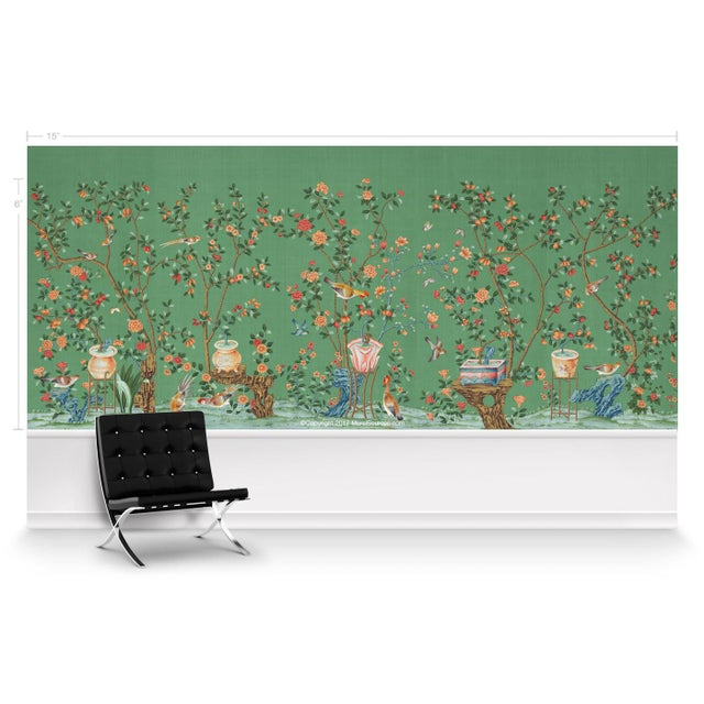 Chinoiserie Casa Cosima Green Fauna Wallpaper Mural - Sample For Sale - Image 3 of 5