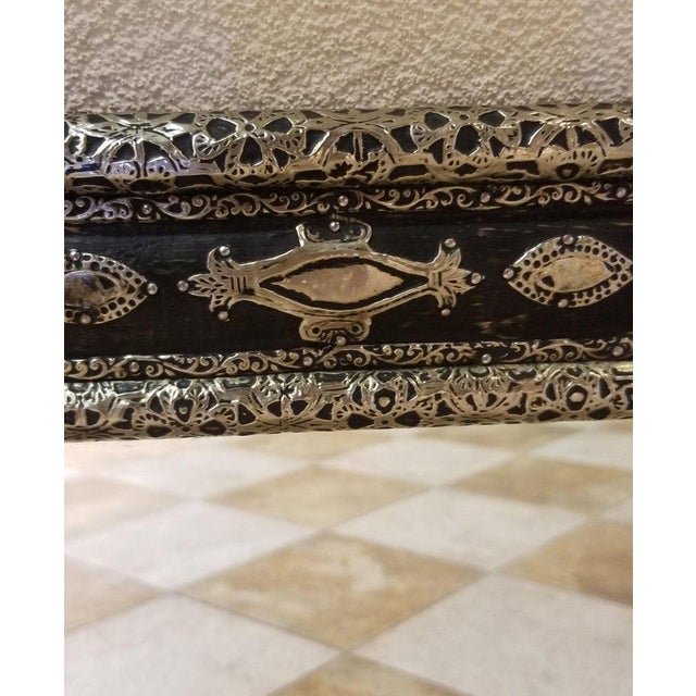 """Medium size metal inlaid Moroccan mirror. Made in the city of Marrakech. Rectangular shape, measuring approximately 31.5""""..."""