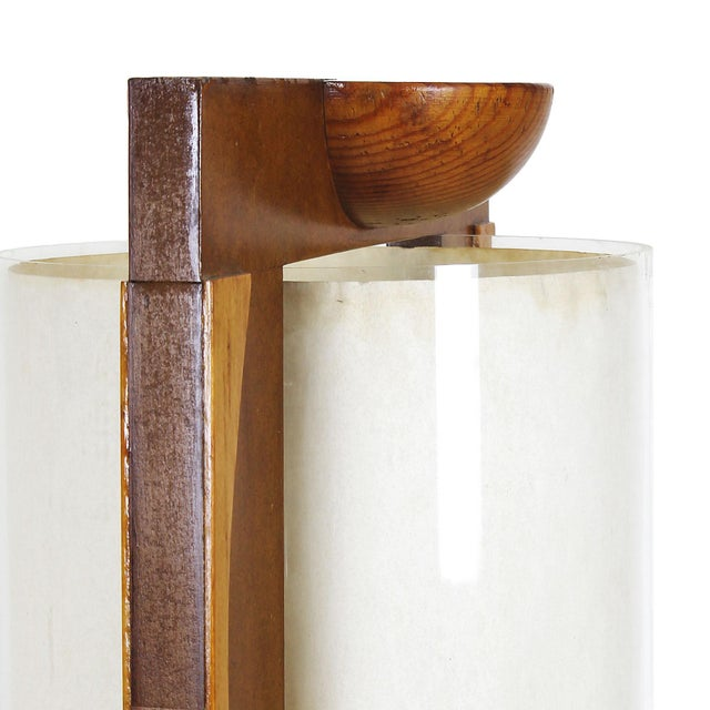 1980 Table Lamp, Mdf, Beech and Pine Woods, Plexiglass and Parchment - Spain For Sale - Image 6 of 9