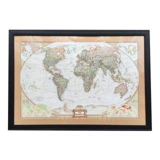 Large National Geographic World Map For Sale