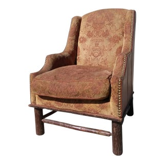Vintage Mid Century Adirondack Style Leather Hickory Armchair For Sale