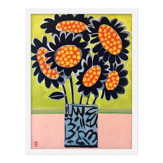 "Medium ""Blue Sunflowers"" Print by Jelly Chen, 17"" X 22"" For Sale"