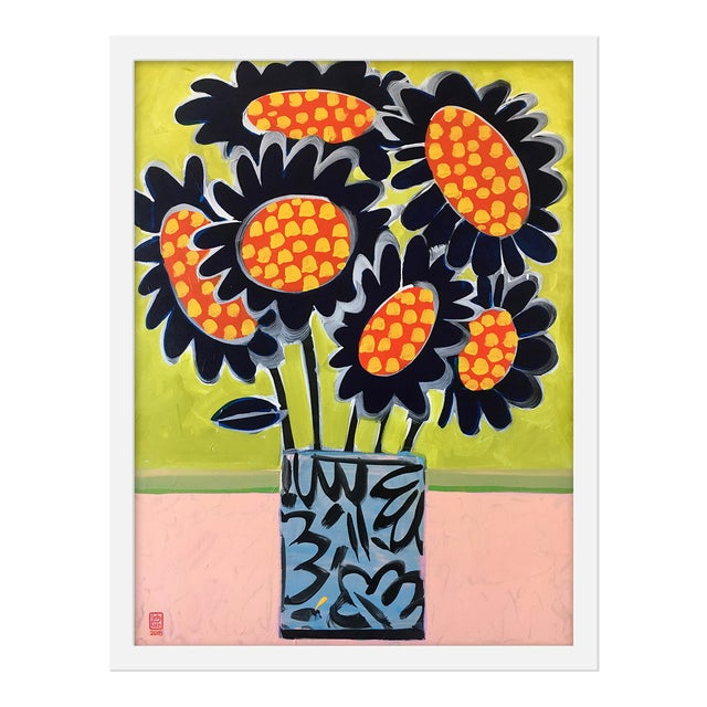 """Medium """"Blue Sunflowers"""" Print by Jelly Chen, 17"""" X 22"""" For Sale"""