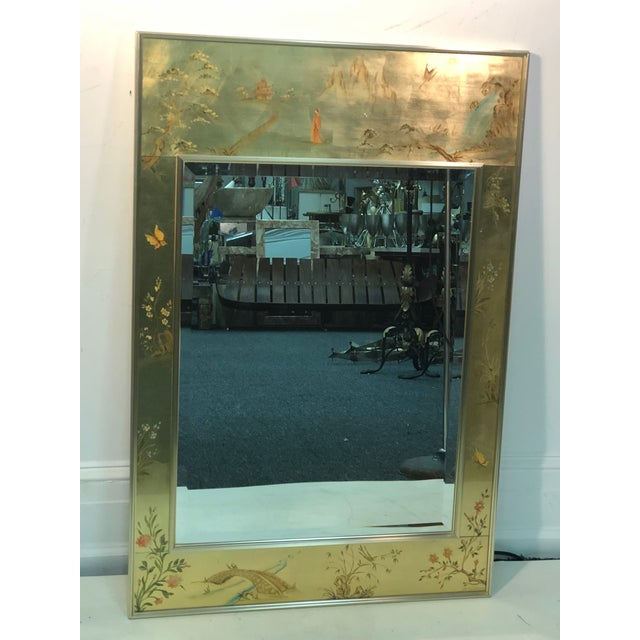 La Barge Hand Painted Gold Leaf Eglomise Mirror For Sale - Image 9 of 9