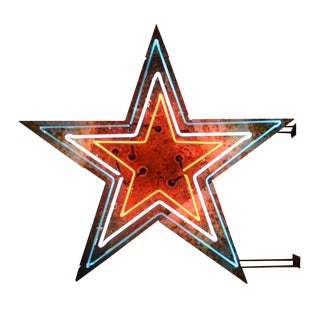Red, White & Blue Double-sided Neon Star Sign Circa 1940