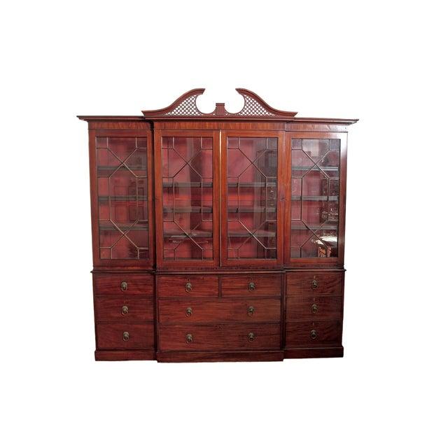Elegant Period George III Mahogany Breakfront Bookcase - Image 11 of 11