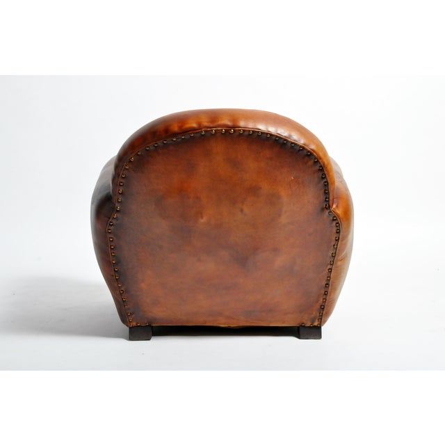 Wood 1960s Vintage French Brown Leather Armchairs - a Pair For Sale - Image 7 of 13