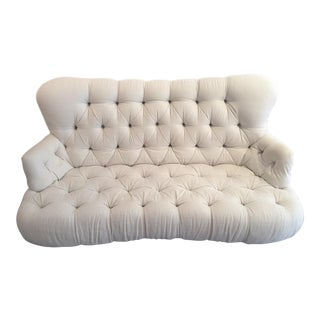 High Back Tufted White Sofa