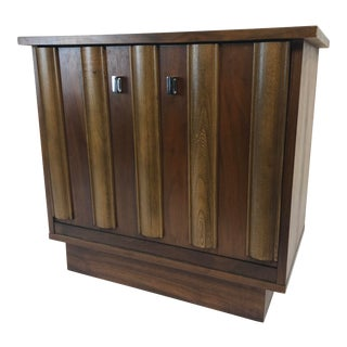 Mid Century Modern Flip Down Record Cabinet by Lane Furniture For Sale