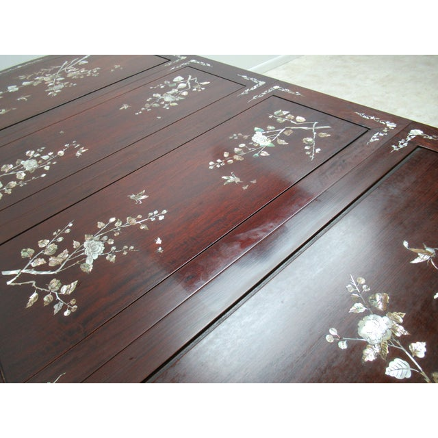 Brown Vintage Rosewood Chinese Chippendale Mother of Pearl Dining Room Banquet Table For Sale - Image 8 of 11