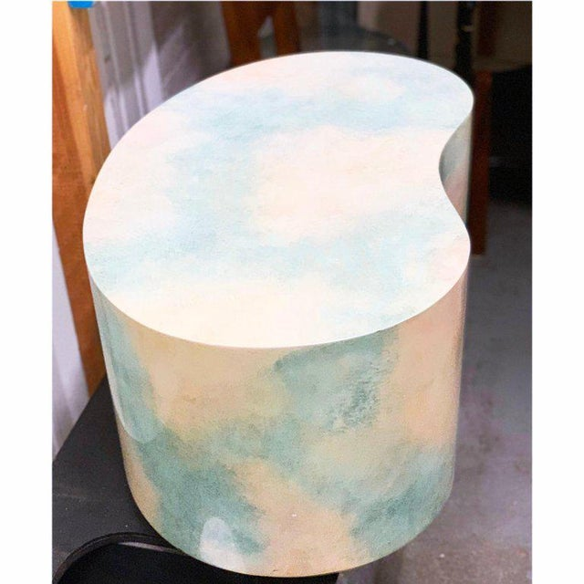 Gorgeous Postmodern Kidney Plinth end table with stunning Memphis Milano style sky / cloud scape finish.