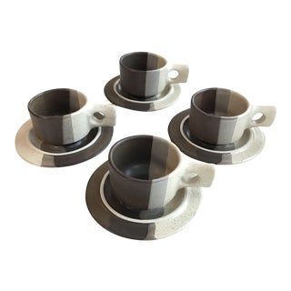 Mid-Century Modern Fabrik Coffee Cup and Saucers - Set of 4 For Sale