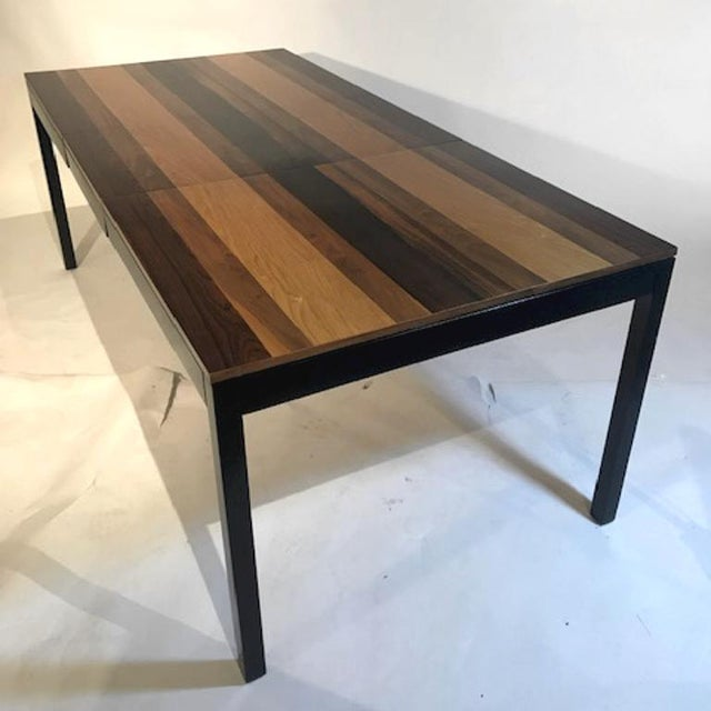 Mid-Century Modern Mid-Century Milo Baughman Tri-Wood Parsons Dining Table in Rosewood, Walnut & Ash For Sale - Image 3 of 6