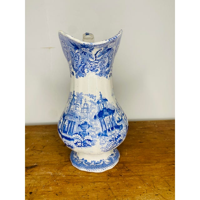 Chinoiserie 19th Century English Blue and White Staffordshire Pitcher For Sale - Image 3 of 9