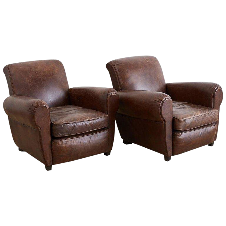 French Art Deco Style Cigar Leather Club Chairs For Sale