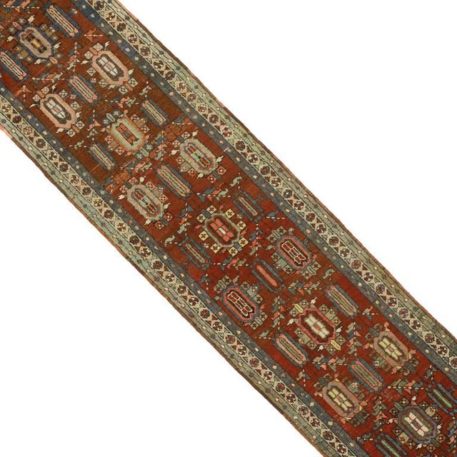 73240 Distressed Antique Persian Heriz Runner with Arts & Crafts Bauhaus Style, Extra-Long Hallway Runner. This hand-...