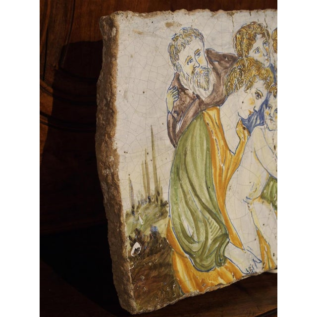 Antique Painted Tile from Italy, 17th Century For Sale - Image 4 of 7