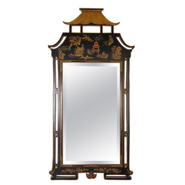1950s Asian Style Decorative Chinoiserie Hand Painted Mirror For Sale - Image 11 of 11