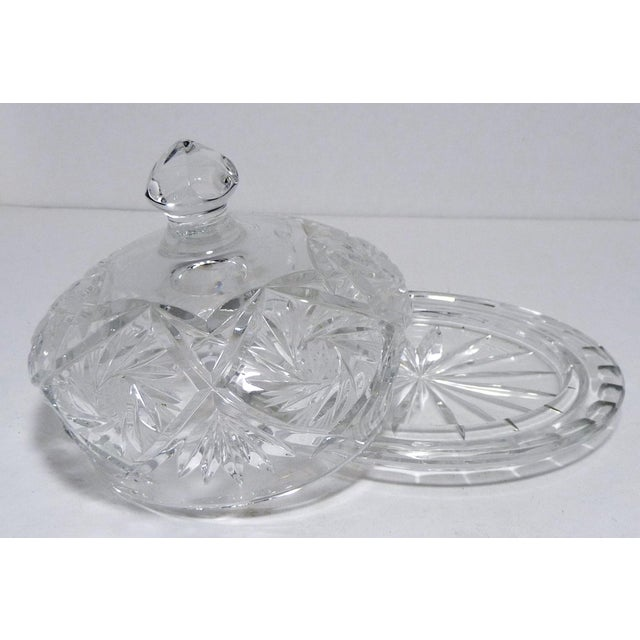 Cut Crystal Dome Top Butter or Cheese Serving Dish For Sale - Image 4 of 9