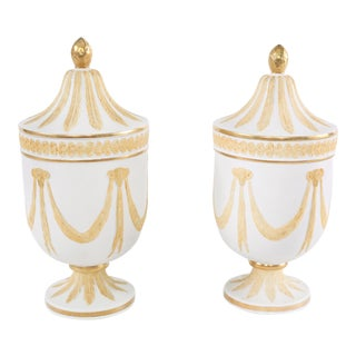 20th Century Gilt Porcelain Covered Decorative Urns - a Pair For Sale