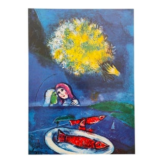 """Marc Chagall Vintage 1958 First Edition Lithograph Print """" Fishes at Saint - Jean """" 1949 For Sale"""