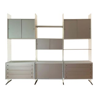 1970s Futuristic Silver & Lucite Poul Norreklit for Georg Petersens Danish Wall Unit For Sale