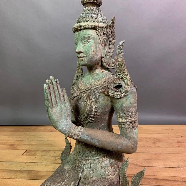 "Early 1900s Mythologic Thepphanom Angel 30"" Bronze Statue, Thailand For Sale - Image 4 of 12"