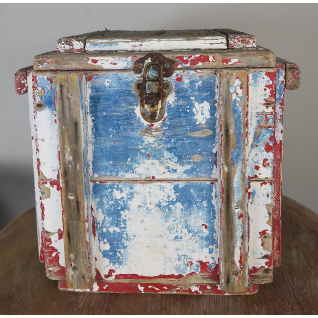 Painted Wood Work Box W/ Metal Clasp and Handles For Sale - Image 13 of 13