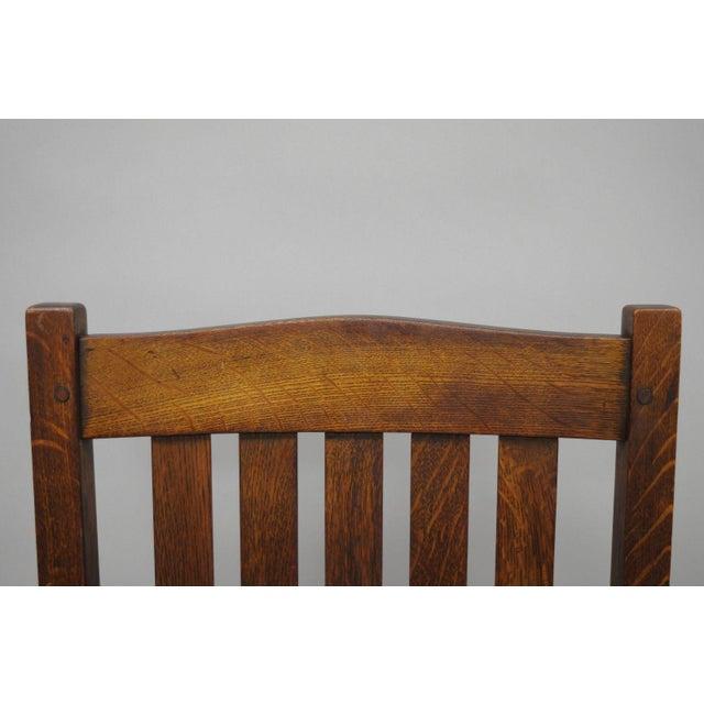 Oak L. & J.G. Stickley, Inc. Mission Oak Youth Nursing Rocking Chair For Sale - Image 7 of 11