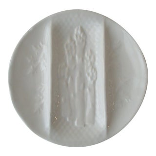 White Majolica Asparagus Well Plate Blanc De Chine For Sale