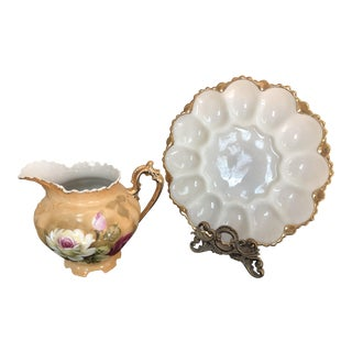 Vintage Lofton China Hand Painted Pitcher & Gold Rimmed Egg Plate For Sale