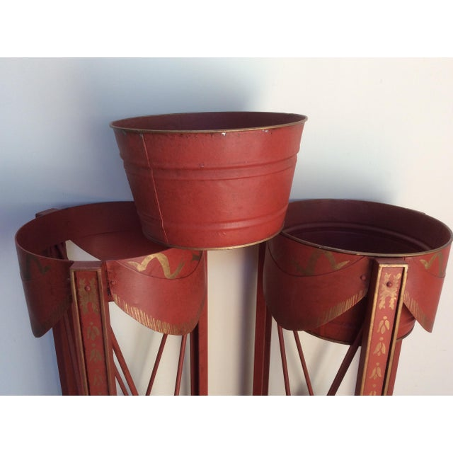 Painted Tole & Bronze Plant Stands - A Pair For Sale - Image 4 of 9