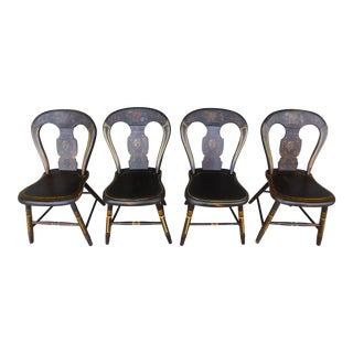 Antique Primitive Paint Decorated Balloon Back Chairs - Set of 4 For Sale