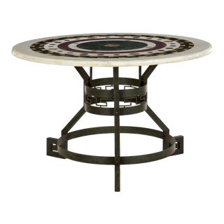 Italian Neoclassical Antique Pietra Dura Center Table W/ Bronze Base For Sale